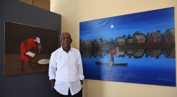 Cruz Bermúdez, destaca por sus pinturas basadas en la cultura garífuna