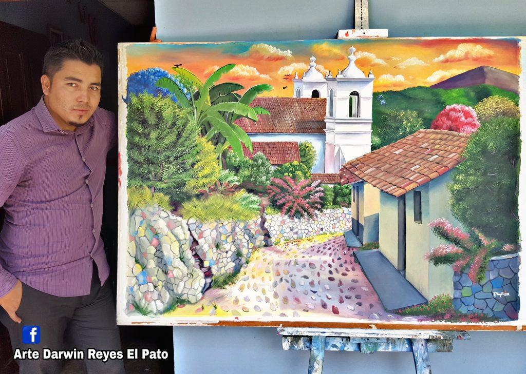 Pintor Darwin Reyes convierte sombreros en pinturas