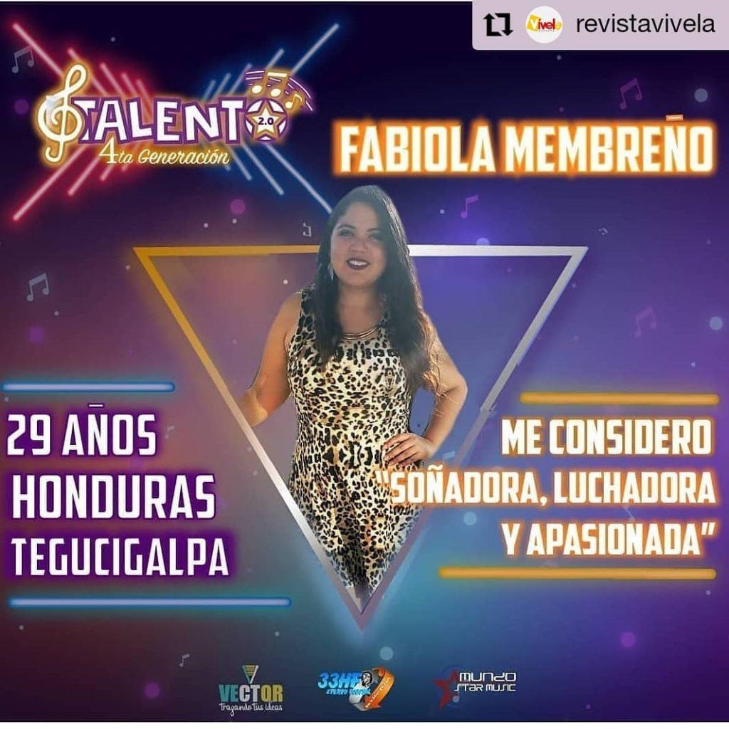 Hondureña Fabiola Membreño está participando en Talento 2.0