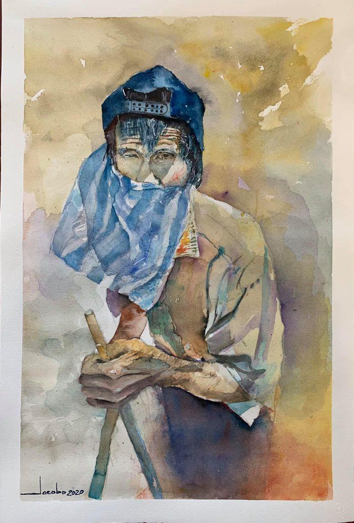 Jacobo Bertrand creó una obra de un anciano con una bolsa de mascarilla
