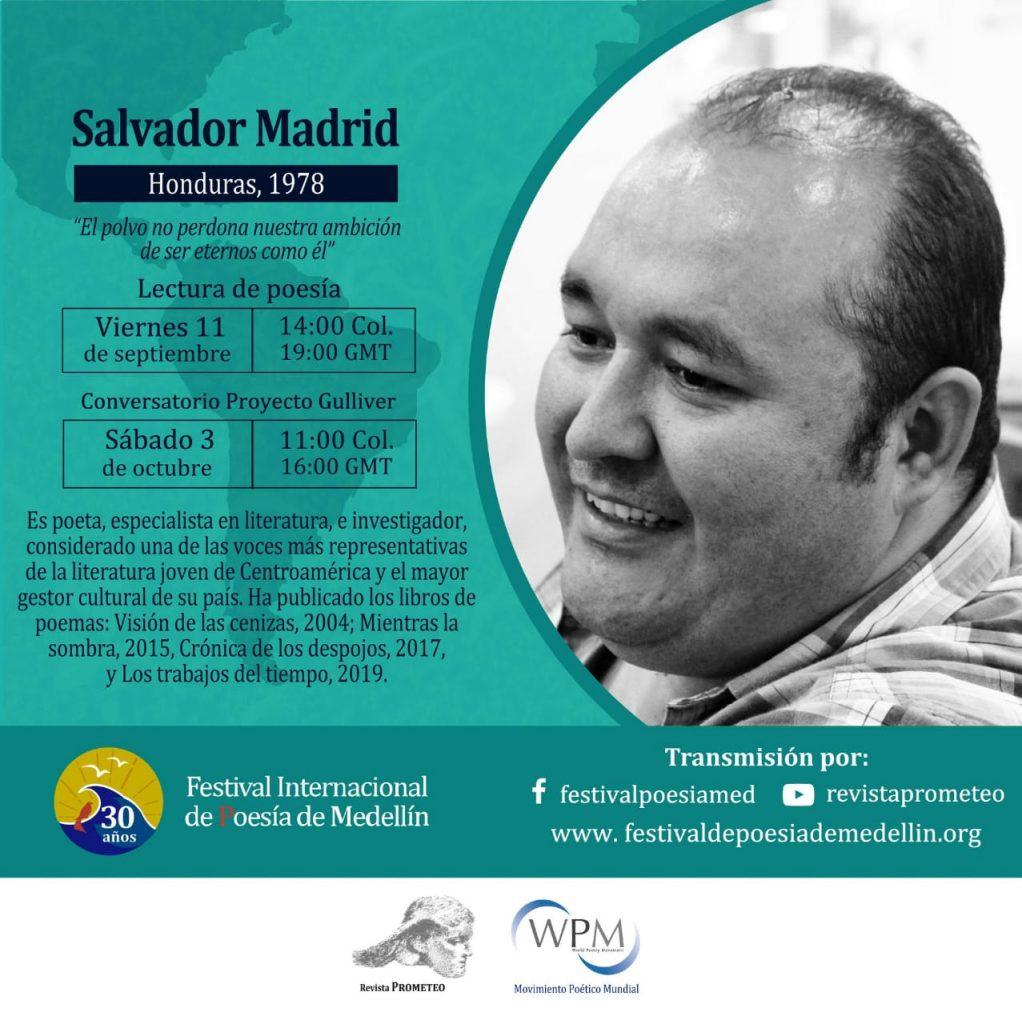 Salvador Madrid participará en Festival Internacional de Poesía en Medellín