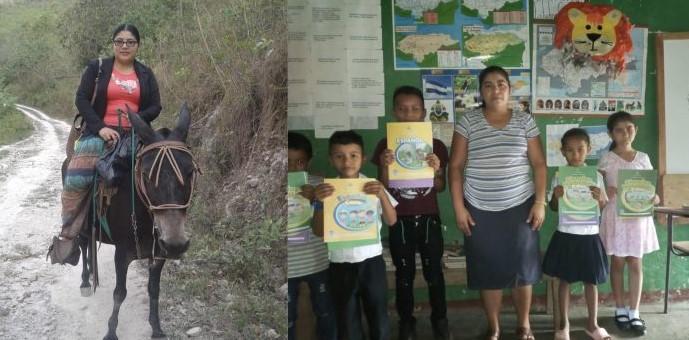 Maestra hondureña recorre kilómetros en mula para ayudar a sus alumnos