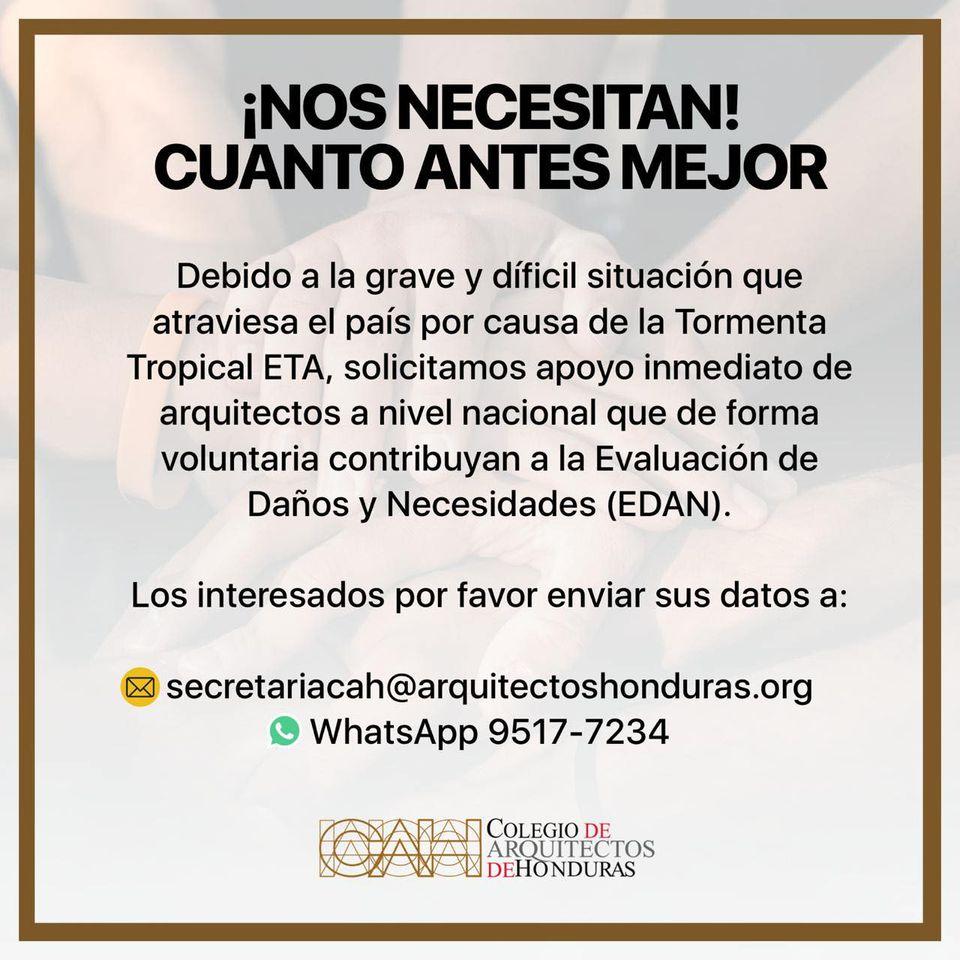 Colegio de Arquitectos de Honduras evalúa daños causados por ETA
