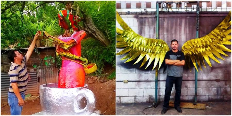 Johny McDonald, hondureño transforma metal reciclado en obras de arte