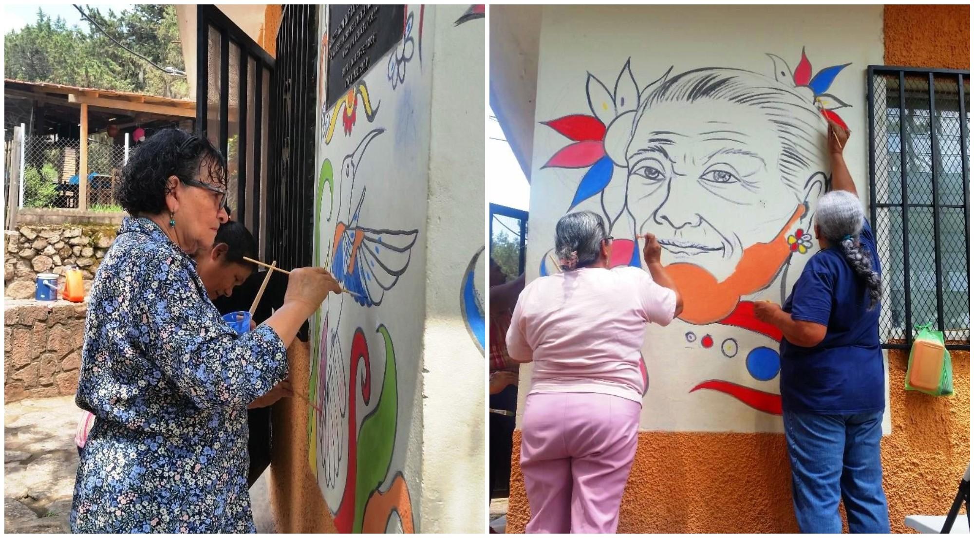 Adultos mayores crean hermosos murales en Santa Lucía