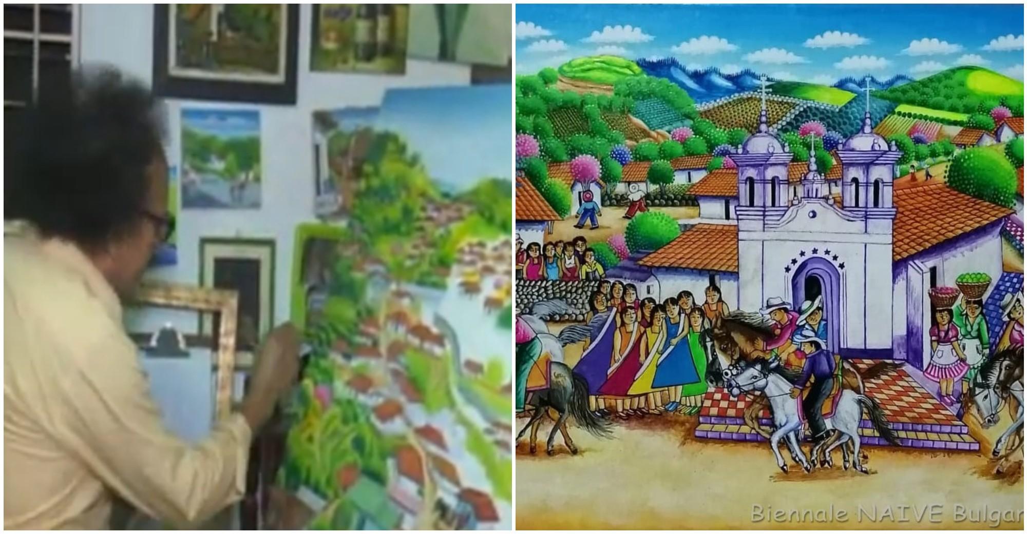 Artista hondureño Fidencio Aguilar, compite en Bulgaria con su obra
