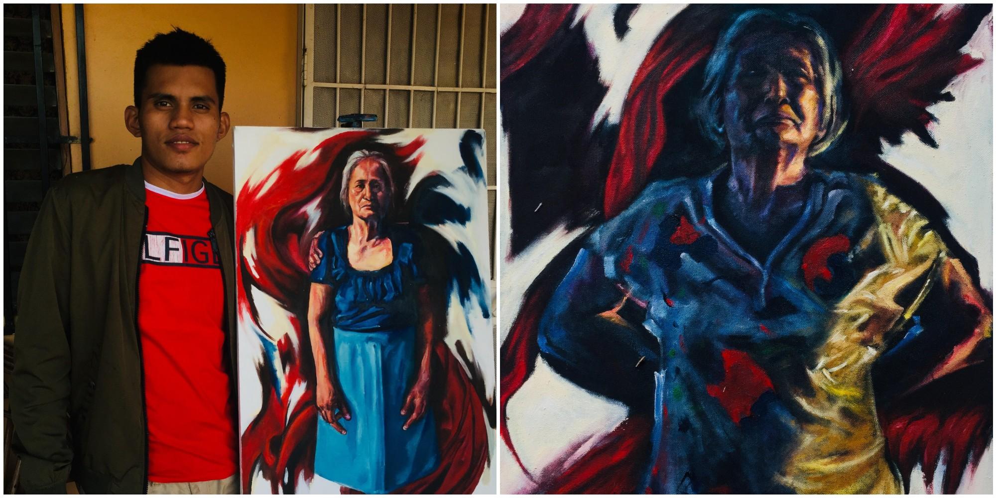 Lucas Guerra, artista hondureño refleja la realidad en sus pinturas