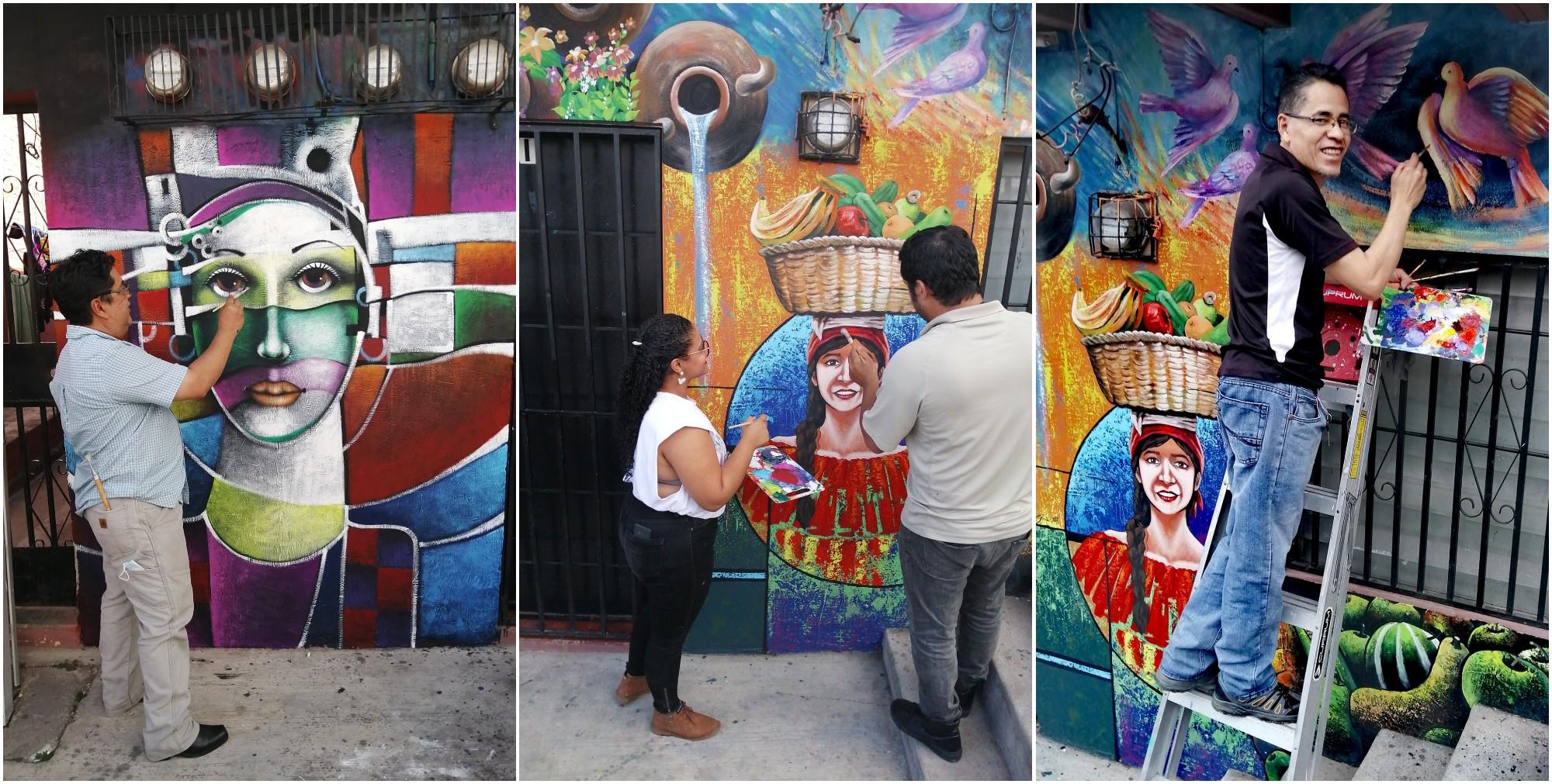 Asociación Hondureña de Artistas Plásticos crea un mural en Las Palmas