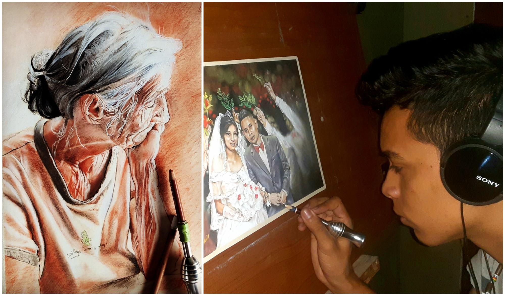 Hondureño Brayan Noel, artista emergente que sorprende con sus retratos