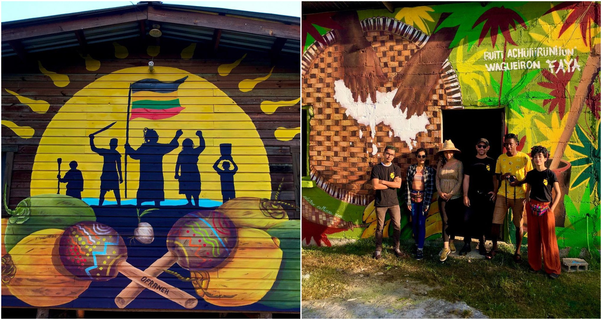 Colectivo Culturas Vivas crean murales que destacan la cultura garífuna