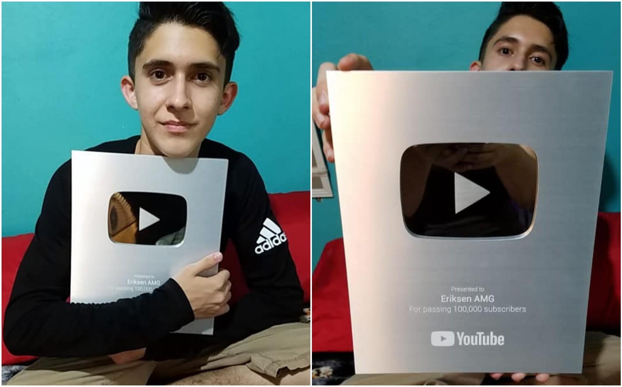 YouTube destacó a hondureño con la placa de 100mil suscriptores