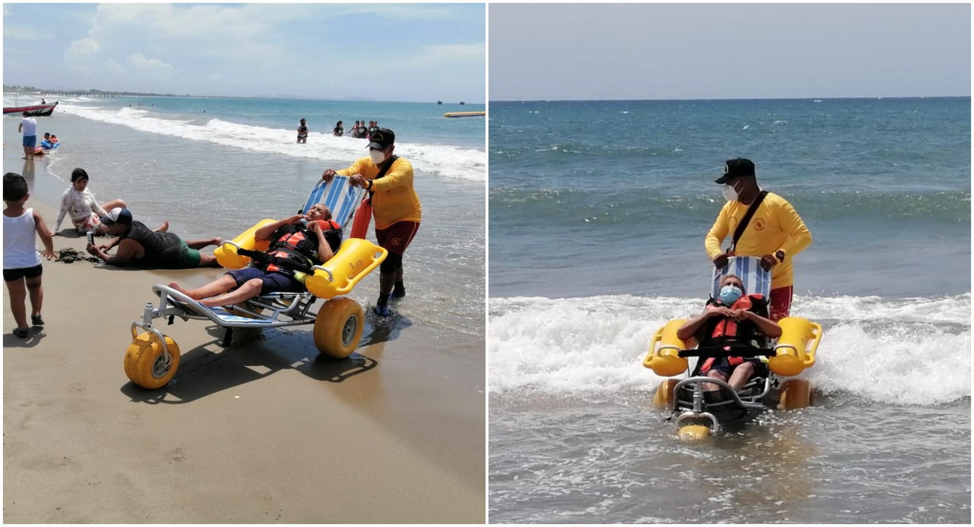 Bomberos cumplen el sueño de un hondureño de meterse al mar