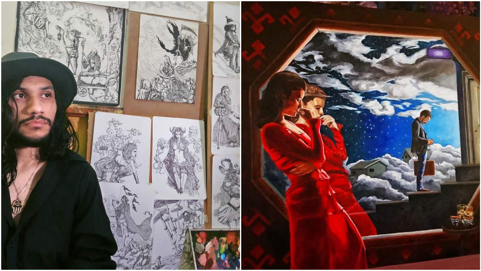 Artista hondureño Erwin Armijo destaca por sus pinturas de fantasía