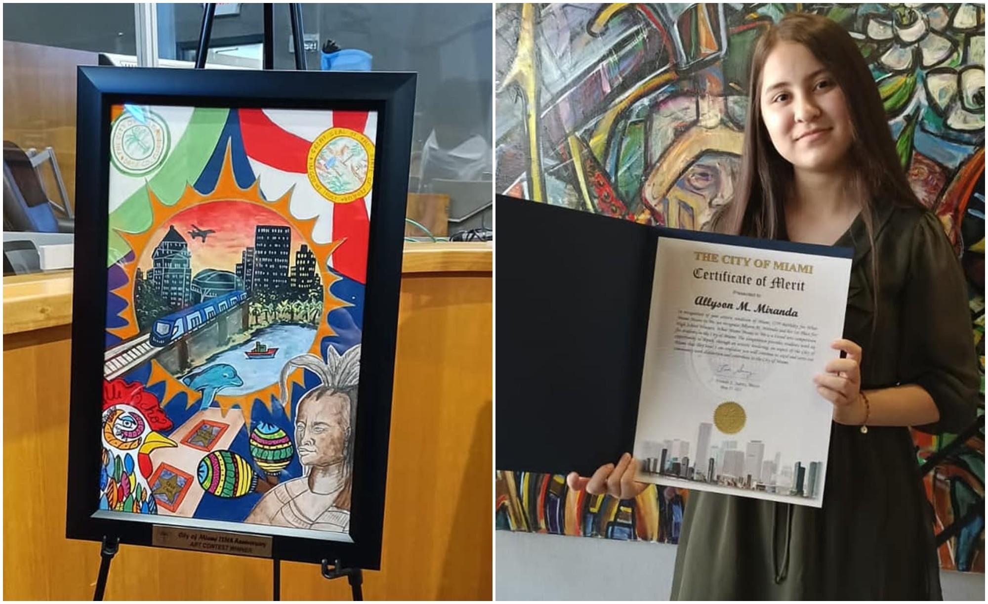 Hondureña Allyson Miranda gana concurso de arte en Miami