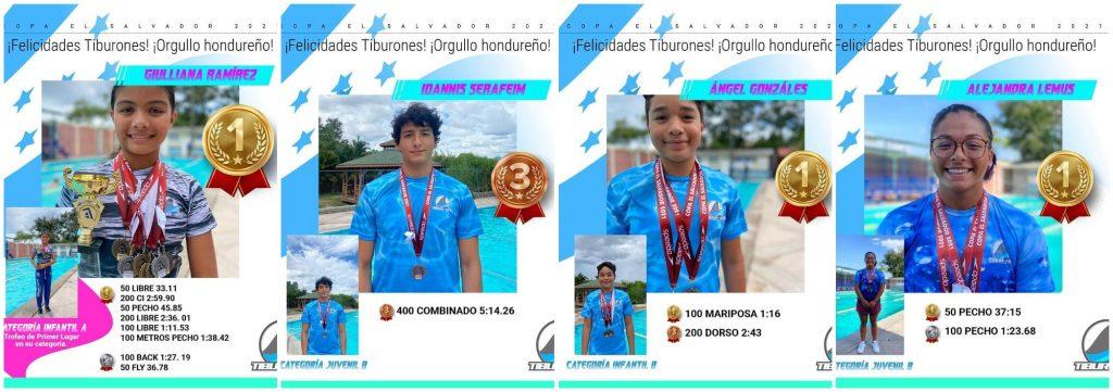 Nadadores hondureños destacaron en la Copa El Salvador