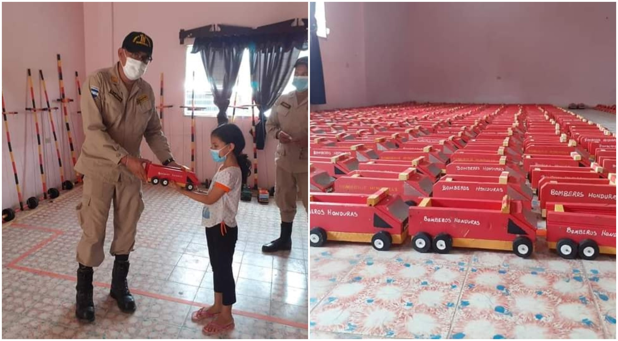 Bomberos de Juticalpa fabrican carros para regalar a niños