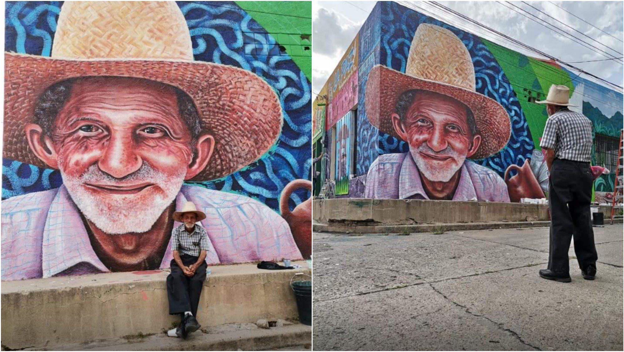 Homenajean con un mural a un señor que vende periódicos en La Paz