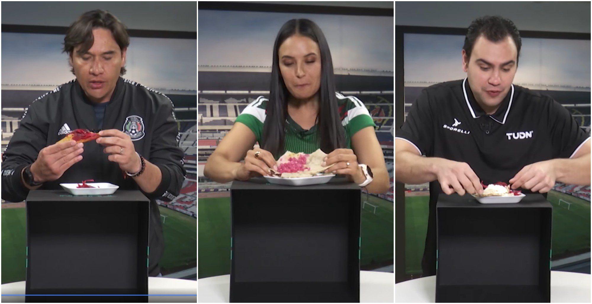 Presentadores mexicanos probaron la comida hondureña en vivo