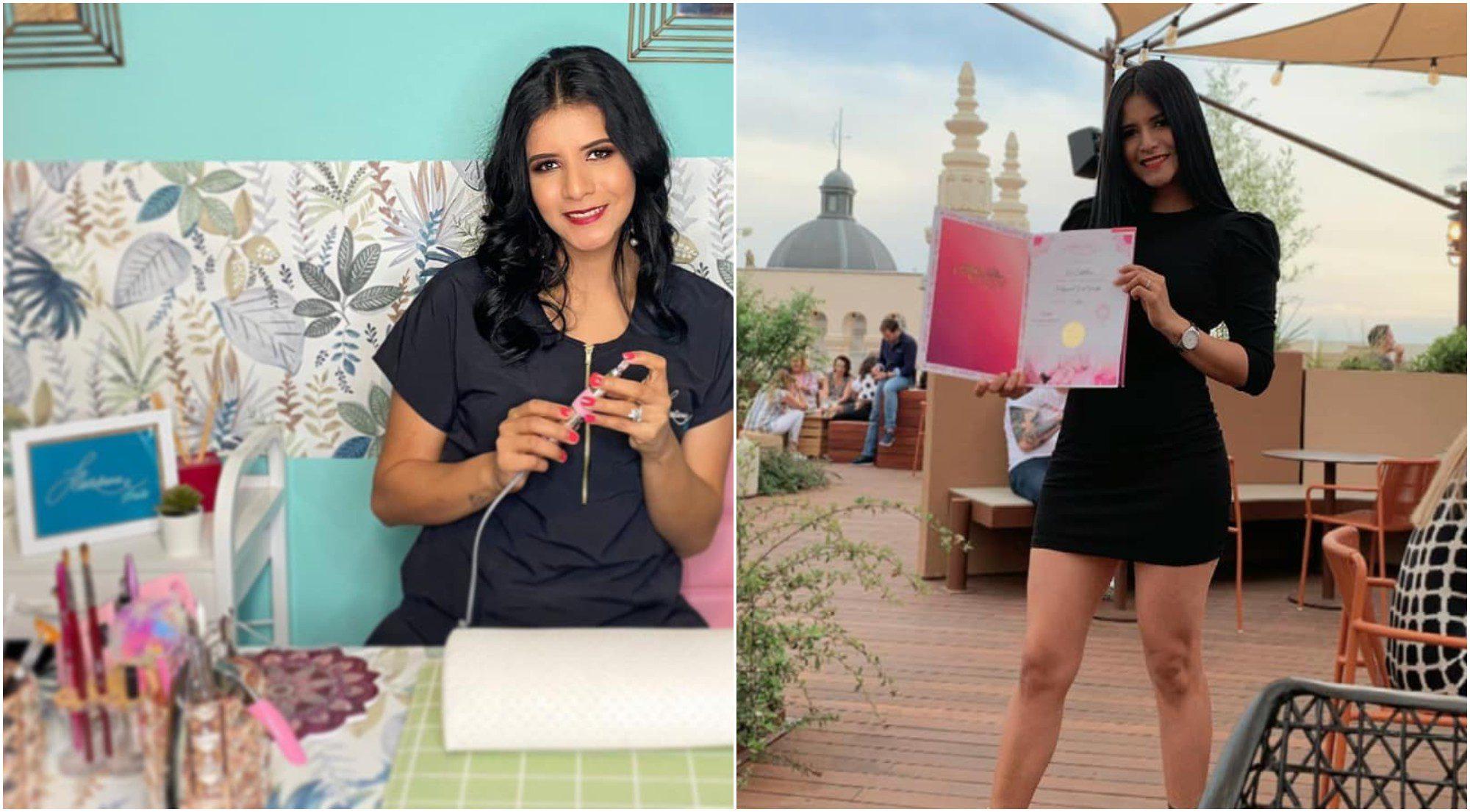 Hondureña destaca en España con emprendimiento de uñas