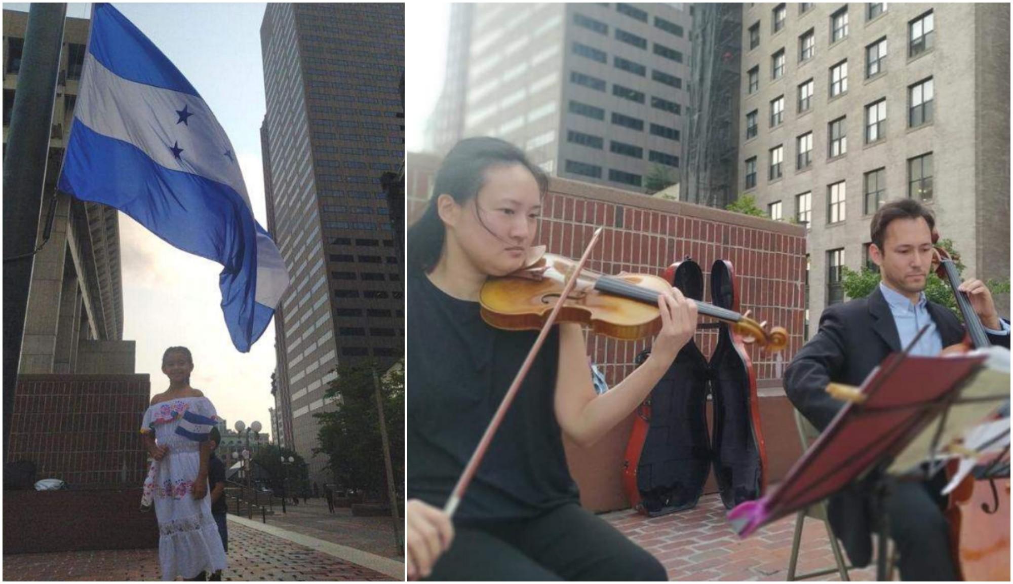 Bandera de Honduras flamea en Boston por el Bicentenario
