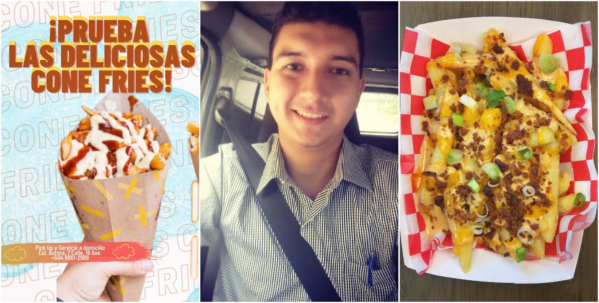 Hondureño destaca con emprendimiento de «papas locas»
