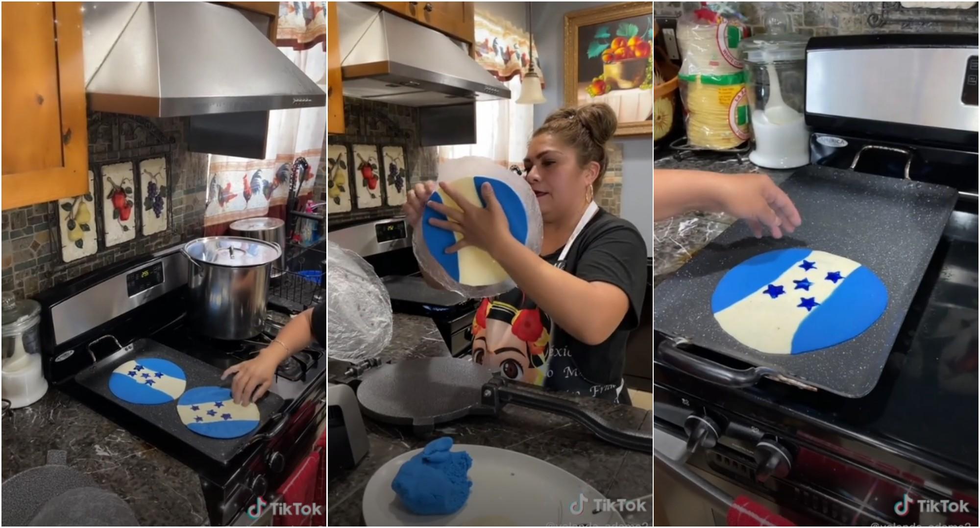 Tiktoker mexicana recrea la bandera de Honduras en una tortilla