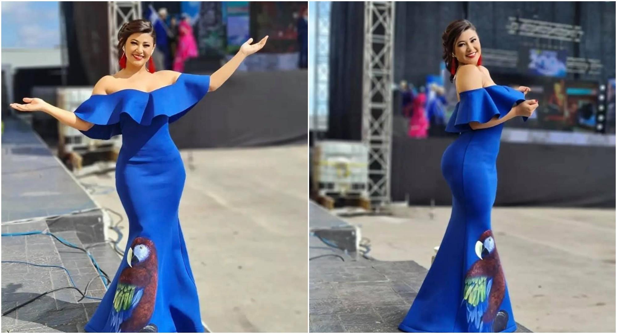 Presentadora hondureña pintó su vestido para el Bicentenario