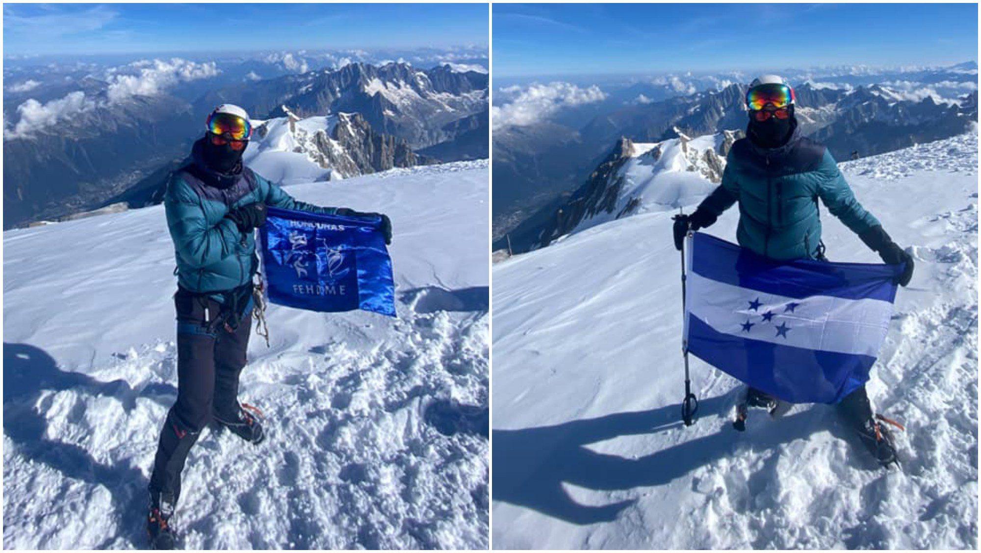 Rigo Polío es el primer hondureño en escalar los Alpes Europeos