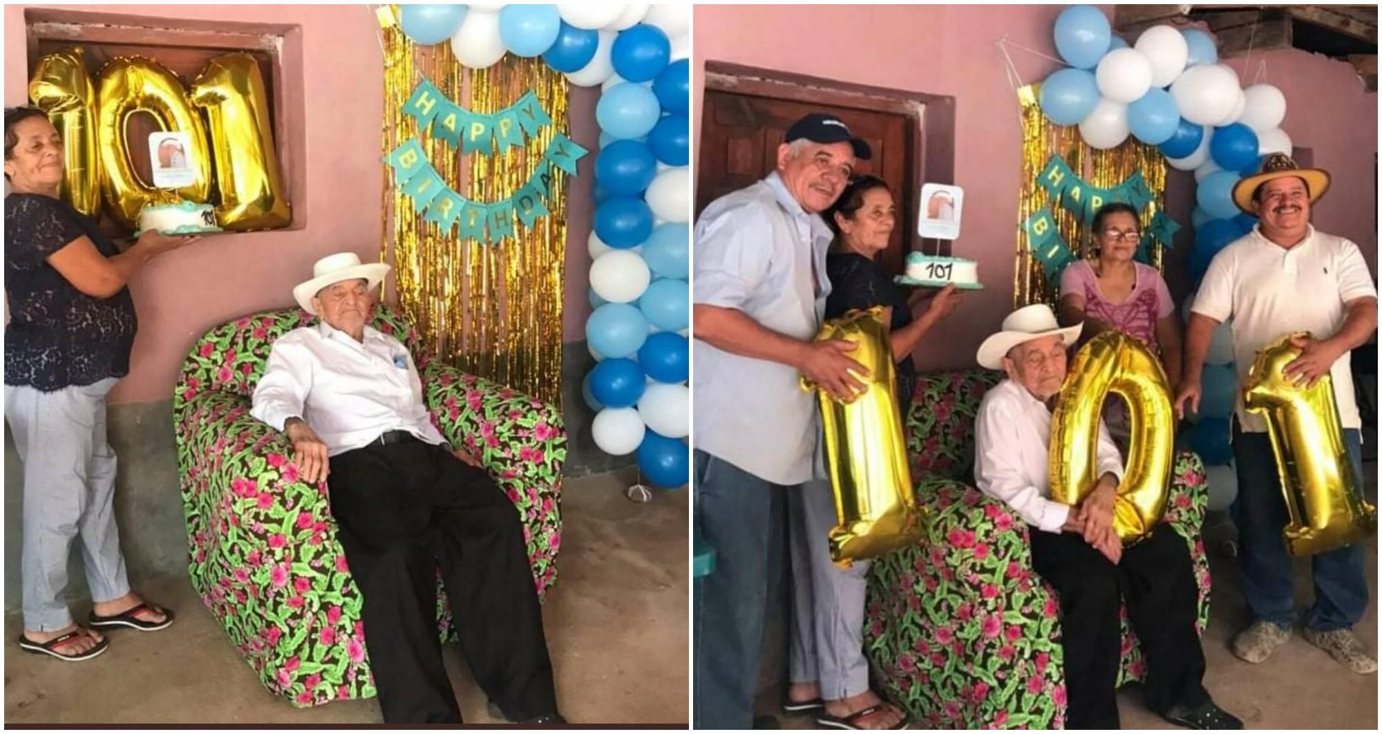 Hondureño cumplió 101 años y lo celebró rodeado de cariño